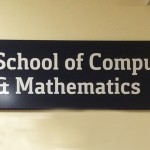 School of Computing and Mathmatics tray sign