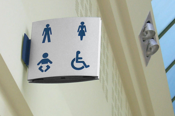 Wall Mounted Projecting Public Toilet Sign Gb Sign Solutions