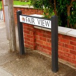 Street Nameplate sign on recycled plastic posts c/w crest